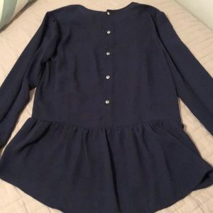 H&M navy blue blouse with back button details